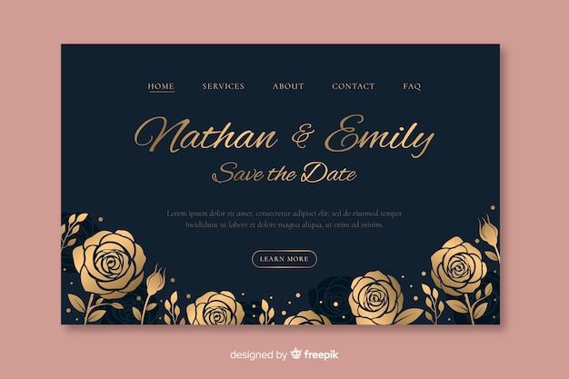 Plantilla elegante dibujada de landing page de boda