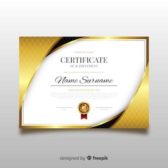 Plantilla elegante de diploma con elementos dorados