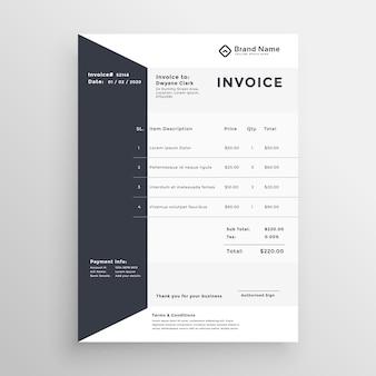 Plantilla elegante factura en blanco y negro