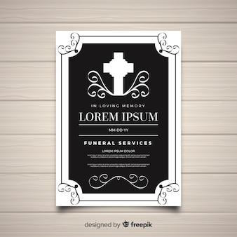 Plantilla elegante de folleto de funeral