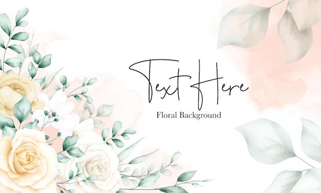 Plantilla elegante del fondo del marco floral de la acuarela