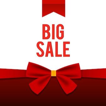 Plantilla elegante de gran venta con palabras en rojo sobre los mejores descuentos con hermoso lazo en blanco
