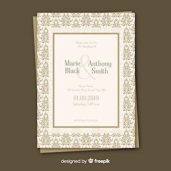 Plantilla elegante de la invitación de la boda del damasco