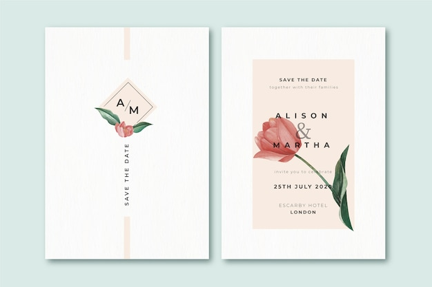 Plantilla elegante invitación de boda floral minimalista