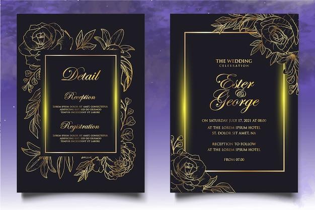 Plantilla elegante de invitación de boda floral vintage