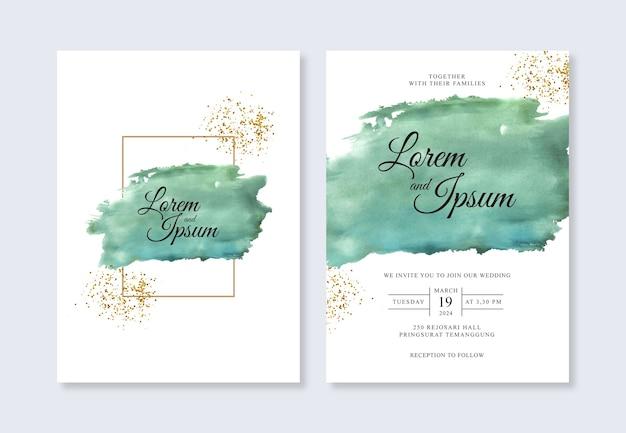 Plantilla elegante de invitación de boda con salpicaduras de acuarela pintadas a mano