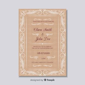 Plantilla elegante de invitación de boda