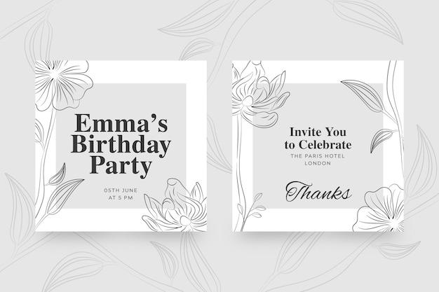 Plantilla elegante para invitación de cumpleaños