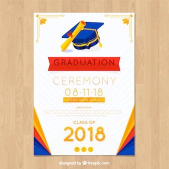 Plantilla elegante de invitación a graduación con diseño plano