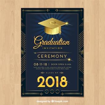 Plantilla elegante de invitación a graduación con diseño realista