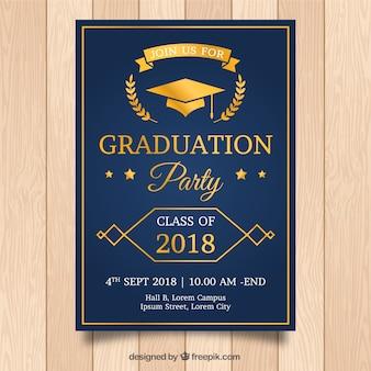 Plantilla elegante de invitación a graduación con estilo dorado
