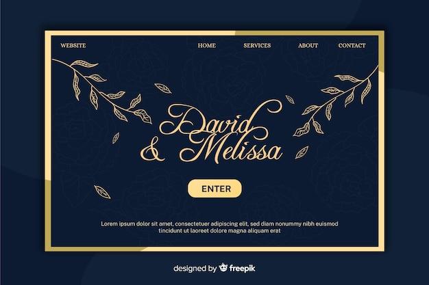 Plantilla elegante de landing page de boda