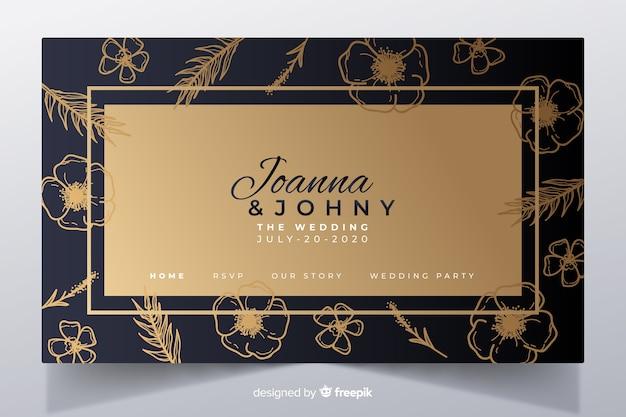 Plantilla elegante de landing page dorada de boda