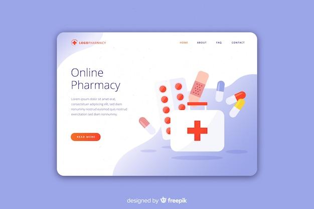 Plantilla elegante de landing page de farmacia online