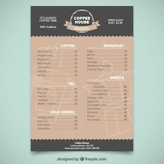 Plantilla elegante de menú de cafetería