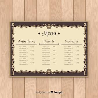 Plantilla elegante de menú con caligrafía vintage
