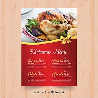 Plantilla elegante de menú de navidad con foto