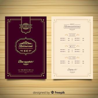 Plantilla elegante de menú de restaurante con adornos vintage