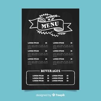 Plantilla elegante de menú de restaurante con tipografía vintage