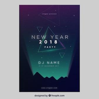 Plantilla elegante oscura de cartel para fiesta de año nuevo