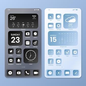 Plantilla elegante de pantalla de inicio para smartphone