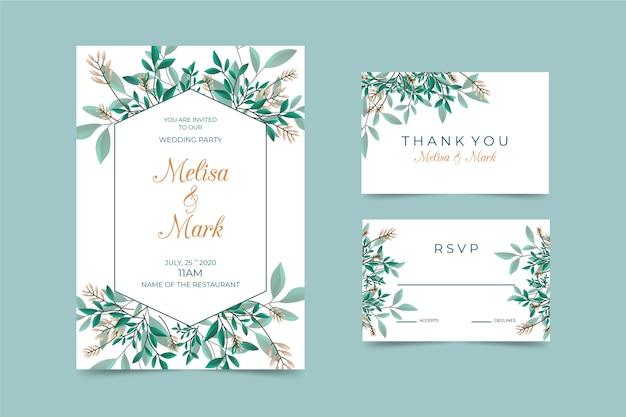 Plantilla elegante de papelería de boda