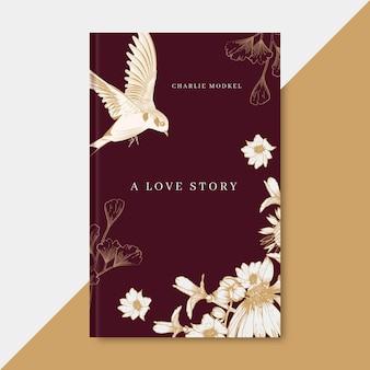 Plantilla elegante de portada de libro de amor