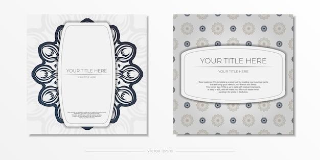 Plantilla elegante para postal de diseño de impresión color blanco con adornos vintage azul oscuro. preparación de vector de tarjeta de invitación con patrones griegos.