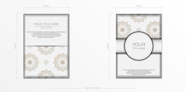 Plantilla elegante para postal de diseño de impresión color blanco con adornos vintage de lujo. preparación de vector de tarjeta de invitación con patrones griegos.