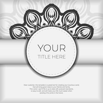 Plantilla elegante para postal de diseño de impresión color blanco con patrones vintage azul oscuro. vector preparación de la tarjeta de invitación con adornos griegos.