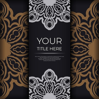 Plantilla elegante para postales de diseño de impresión en color negro con adornos vintage. preparación de vector de tarjeta de invitación con patrones griegos.
