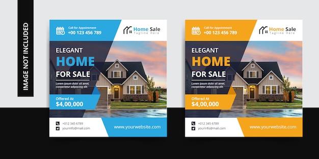 Plantilla elegante de publicación de redes sociales para instagram de venta de casas