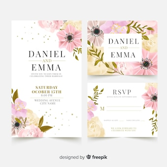 Plantilla elegante de tarjeta de boda con flores realistas