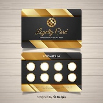 Plantilla elegante de tarjeta de cliente con estilo dorado