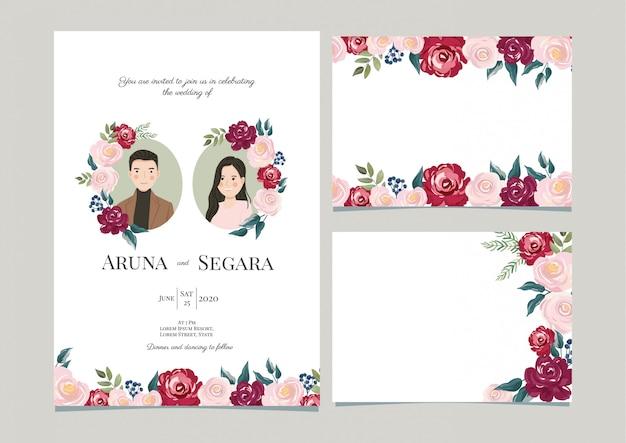 Plantilla elegante de la tarjeta de la invitación de la boda de la flor color de rosa