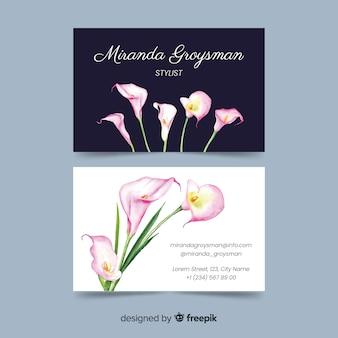 Plantilla elegante de la tarjeta de visita de la acuarela