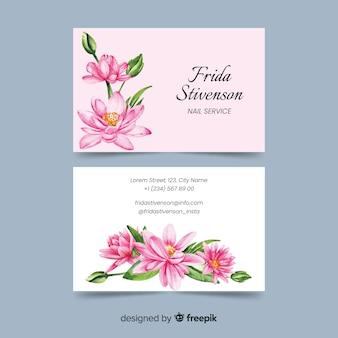 Plantilla elegante tarjeta de visita de acuarela