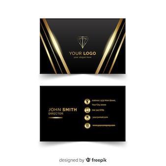 Plantilla elegante de tarjeta de visita con estilo dorado