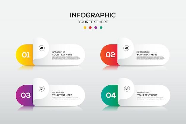 Plantilla de elemento de diseño de infografía empresarial para presentación con 4 opciones