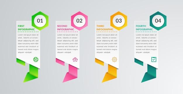 Plantilla de elemento de infografía abstracto con 4 opciones estilo poligonal de papercut con forma hexagonal en la numeración