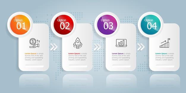 Plantilla de elemento de presentación de infografía horizontal con fondo de ilustración de vector de opciones de icono de negocio 4