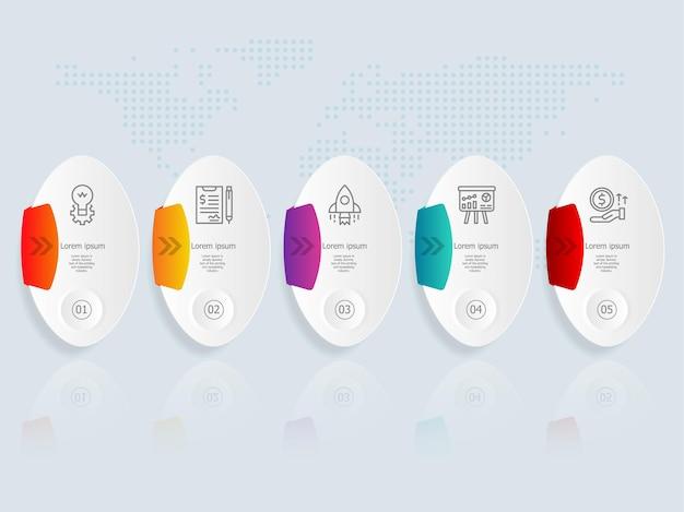 Plantilla de elemento de presentación de infografía horizontal con icono de negocios 5 opciones