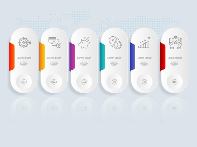 Plantilla de elemento de presentación de infografía horizontal con icono de negocios 6 opciones