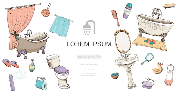 Plantilla de elementos de baño dibujados a mano