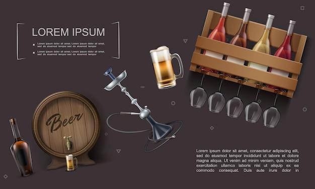 Plantilla de elementos de barra realista con barril y taza de cervezas, botellas de vino en caja de madera, vasos, cachimba