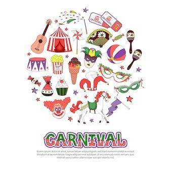 Plantilla de elementos de carnaval en estilo plano