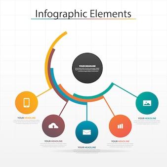 Plantilla de elementos de círculo colorido infografía