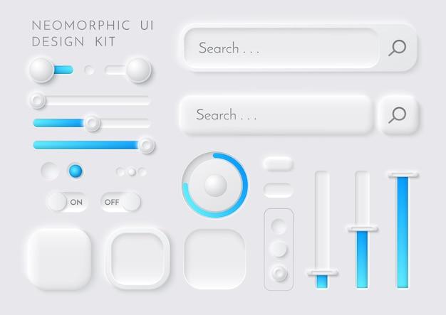 Plantilla de elementos de diseño de interfaz de kit de interfaz de usuario neomórfica