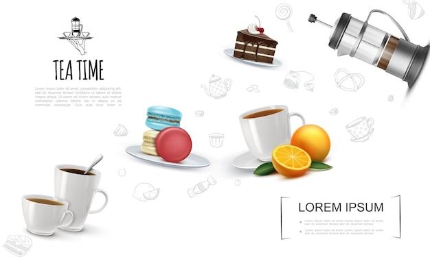 Plantilla de elementos de fiesta de té realista con macarrones de pieza de pastel de chocolate de tazas de té en placa francesa prensa naranja y té iconos lineales