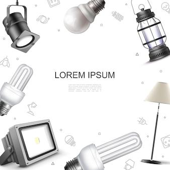 Plantilla de elementos de iluminación realista con focos, lámpara de pie, bombillas y linterna